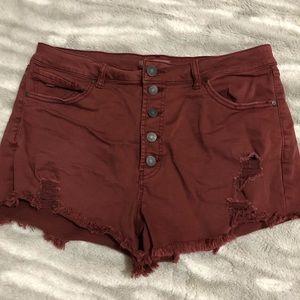 Refuge   High Waist Maroon Jean Shorts